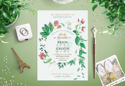 Watercolor Wildflower Wedding Invitation 1