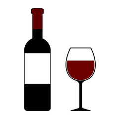 Red Wine Bottle and Glass Isolated Vector Illustration