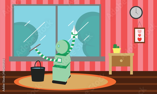 Domestic robot cleaning window glass with a squeegee