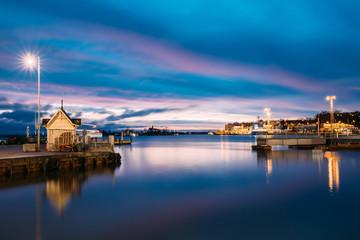 Helsinki, Finland. Landscape With City Pier, Jetty At Winter Sunrise