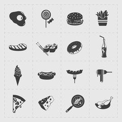 Fast Food Black Icon set on White Background