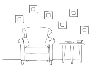 Chair, table with mug. Hand drawn vector illustration of a sketch style