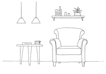 Chair, table with mug. Two low-suspended lamps above the table. Shelf with books and plants. Hand drawn vector illustration of a sketch style