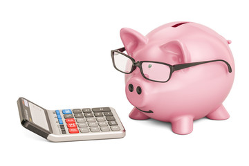 Piggy bank wearing eyeglasses with calculator, 3D rendering