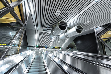 Escalator from the new trainstation at Stockholm City