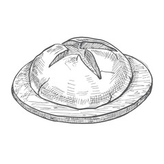 Lloaf of bread on a wooden round board. Vector illustration of a sketch style.