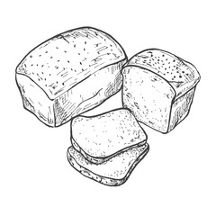 Rectangular loaf of bread. Sliced bread. Vector illustration of a sketch style.