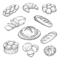 Buns, croissant, loaf, bread, baking isolated on white background. Vector illustration of a sketch style.