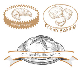 Set of labels for the baked product. Vector illustration of a sketch style.