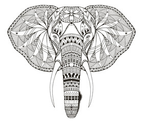 Elephant head zentangle stylized, vector, illustration, freehand pencil, hand drawn, pattern. Zen art. Ornate vector. Lace. Coloring.
