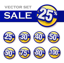 set of sale labels blue colors. Vector illustration of discount template