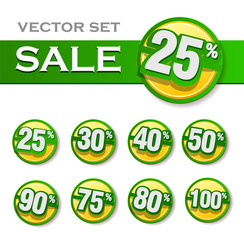 set of sale labels green colors. Vector illustration of discount template