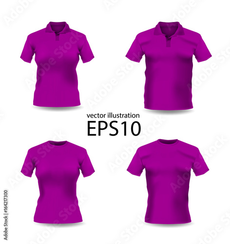 df94e7b58 Set of woman and man clothes. Purple color polo-shirt. Vector ...