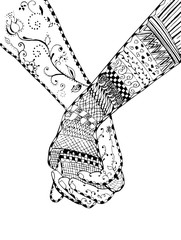 Zentangle style - couple holding hands, swirl, flower, vector, illustration, freehand pencil
