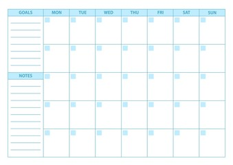 Empty Planner. Scheduler, agenda or diary template. Week starts on Monday