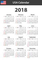 USA Calendar for 2018. Scheduler, agenda or diary template. Week starts on Sunday