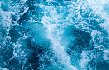 Sea water ship trail with white foamy wave. Tropical islands ferry travel.