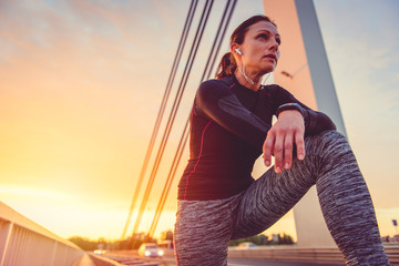Portrait of fitness women resting