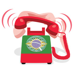 Ringing red stationary phone with rotary dial and flag of Brazil