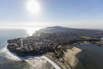 Aerial view of the San Pedro coast in Los Angeles, California.