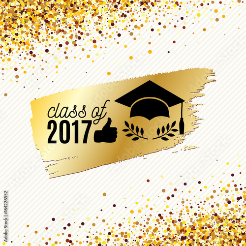 class of 2017 graduate banner with hat laurel and golden ink brush