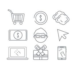 set technology information icons service