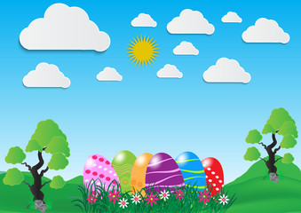 Decorative easter eggs on green grass and white cloud, vector illustration
