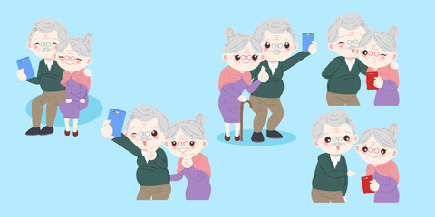 cute cartoon old couple