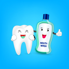 Cute cartoon tooth cleaning mouth by mouthwash . Dental care concept. Illustration isolated on blue background.
