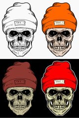 Skull Head Wearing Winter Hat Drawing illustration with 4 variation color
