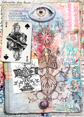 Esoteric graffiti and manuscipts with collages,symbols,draws and scraps