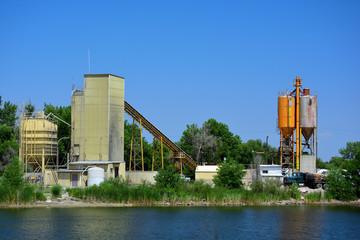 Cement Concrete Mixing Plant by a Lake