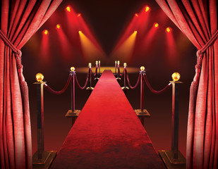 Red carpet entrance and theater lights background