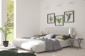 Idea of white bedroom with summer landscape in window. Scandinavian interior design. 3D illustration