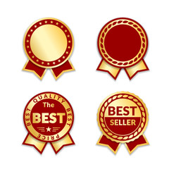 Red ribbon awards best seller label set. Gold ribbon award icons isolated white background. Best quality golden design for badge, medal, best price, certificate guarantee product Vector illustration