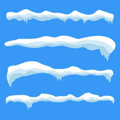 Snow ice icicle set Winter design. White blue snow template. Snowy frame decoration isolated on blue background. Cartoon style. Christmas, New Year frozen ice texture Vector illustration