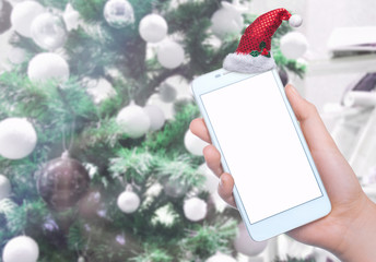 Mobile phone on the background. Mobile technology. Mobile photo. Insert text. Christmas holidays