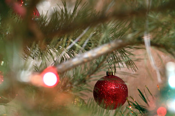 Beautiful decorative multicolored ornaments on a Christmas tree