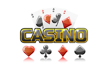 Vector logo text casino and Playing cards, For Ui Game element