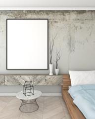 mock up poster frame in grey interior bedroom, modern style, 3D render