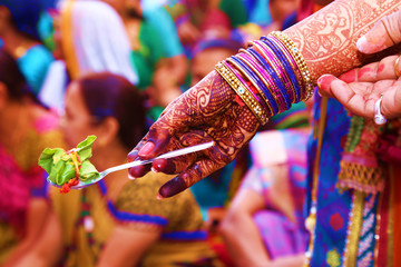 Hindu marriage puja, front view, close up. Indian marriage