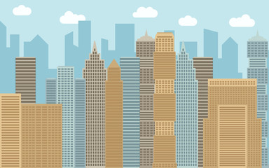 Vector urban landscape illustration. Street view with cityscape, skyscrapers and modern buildings at sunny day. City space in flat style background concept.