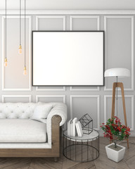 mock up poster frame in grey interior background with sofa, classic style, 3D render, 3D illustration