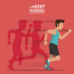 red background of poster keep running with male athlete with shadows him behind