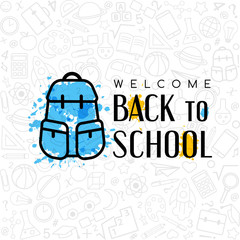 Back to school conceptual background with welcome sign and line