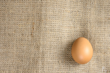One egg on hemp sack