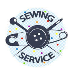 Sewing service with a needle and a button