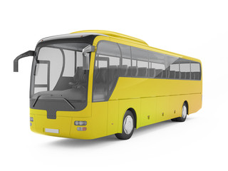 Yellow big tour bus isolated on a white background. 3D rendering