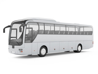White big tour bus isolated on a white background. 3D rendering