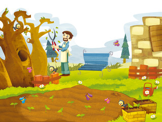 Cartoon scenery of some garden with man working in it - summer - for different usage
